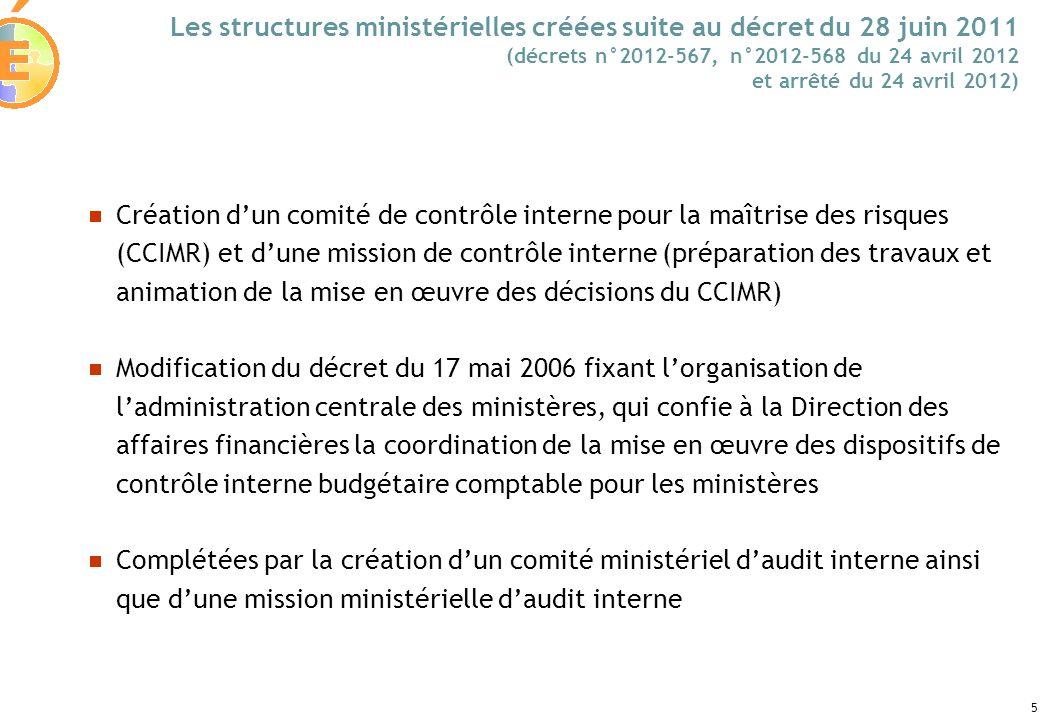 5 Les structures ministérielles créées suite au décret du 28 juin 2011 (décrets n°2012-567, n°2012-568 du 24 avril 2012 et arrêté du 24 avril 2012) Cr
