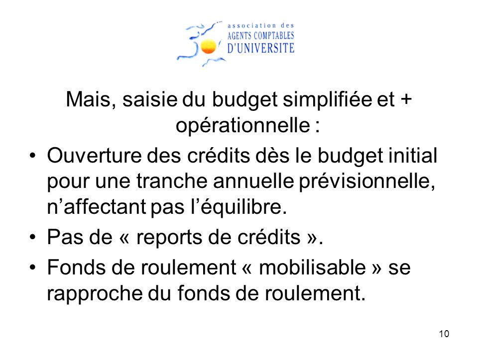10 Mais, saisie du budget simplifiée et + opérationnelle : Ouverture des crédits dès le budget initial pour une tranche annuelle prévisionnelle, naffectant pas léquilibre.