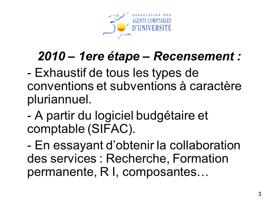 3 2010 – 1ere étape – Recensement : - Exhaustif de tous les types de conventions et subventions à caractère pluriannuel. - A partir du logiciel budgét