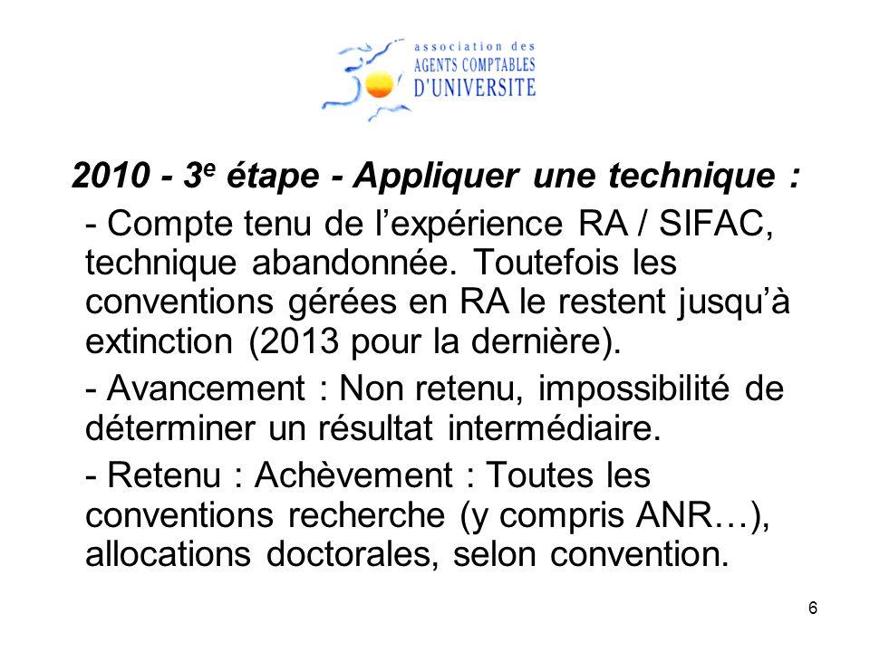 6 2010 - 3 e étape - Appliquer une technique : - Compte tenu de lexpérience RA / SIFAC, technique abandonnée. Toutefois les conventions gérées en RA l