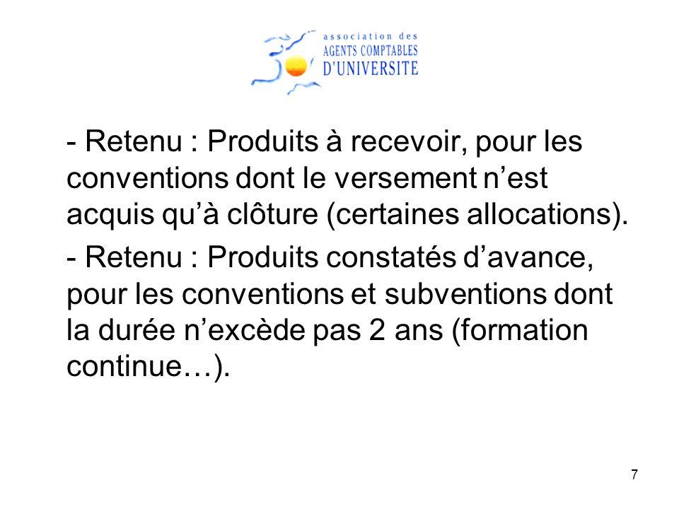 7 - Retenu : Produits à recevoir, pour les conventions dont le versement nest acquis quà clôture (certaines allocations). - Retenu : Produits constaté