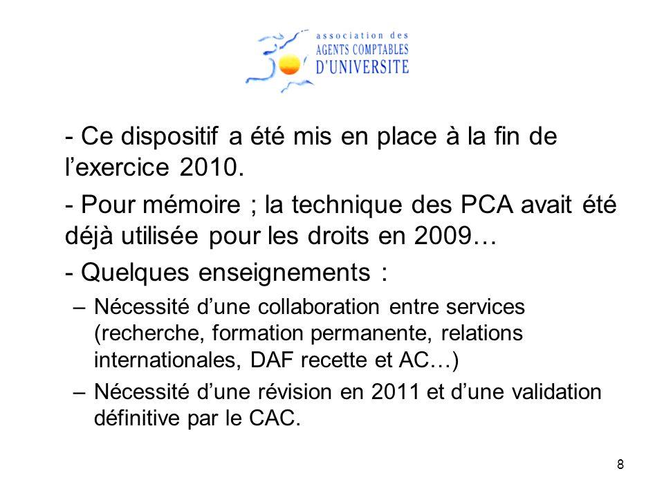 8 - Ce dispositif a été mis en place à la fin de lexercice 2010. - Pour mémoire ; la technique des PCA avait été déjà utilisée pour les droits en 2009