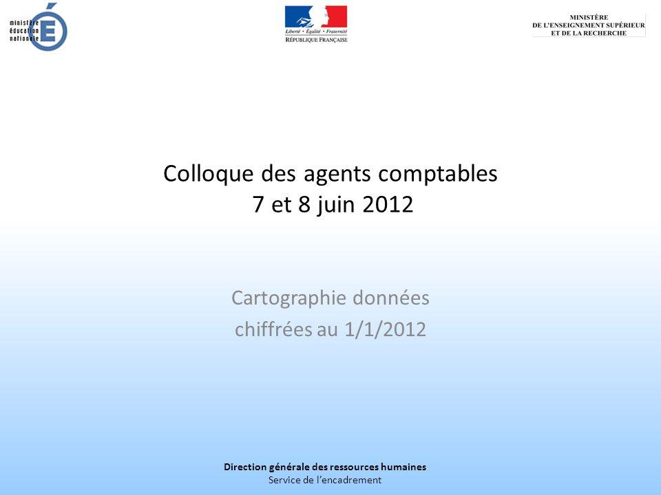 Direction générale des ressources humaines Service de lencadrement Colloque des agents comptables 7 et 8 juin 2012 Cartographie données chiffrées au 1/1/2012