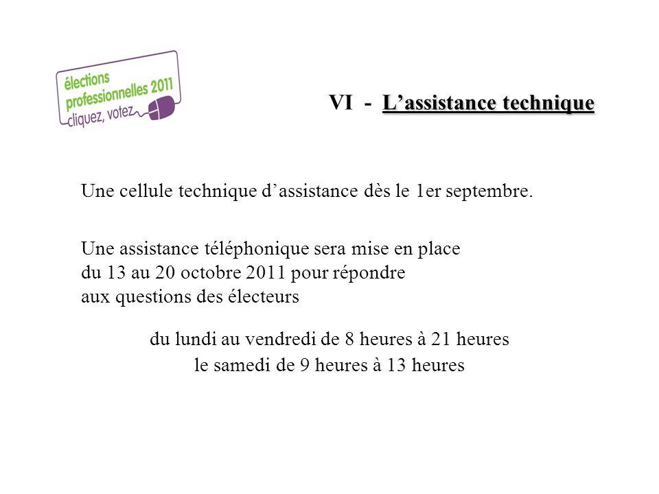Lassistance technique VI - Lassistance technique Une cellule technique dassistance dès le 1er septembre. Une assistance téléphonique sera mise en plac