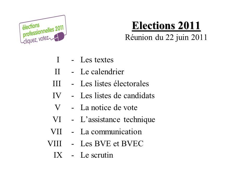 Elections 2011 Elections 2011 Réunion du 22 juin 2011 I- Les textes II - Le calendrier III- Les listes électorales IV- Les listes de candidats V- La n