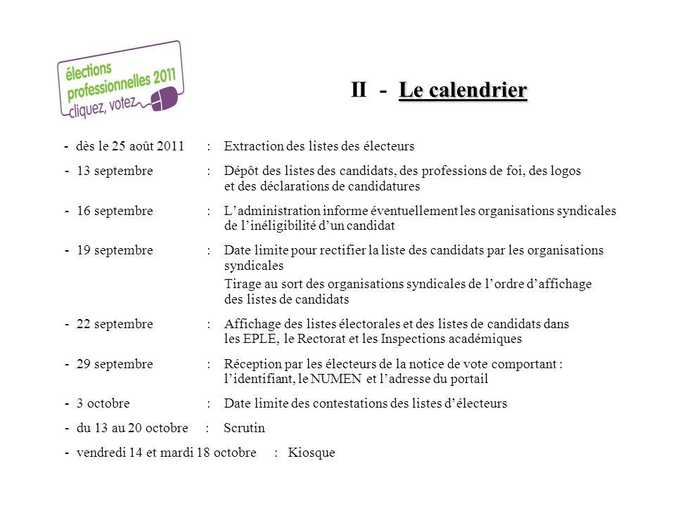 Le calendrier II - Le calendrier - dès le 25 août 2011 : Extraction des listes des électeurs - 13 septembre : Dépôt des listes des candidats, des prof