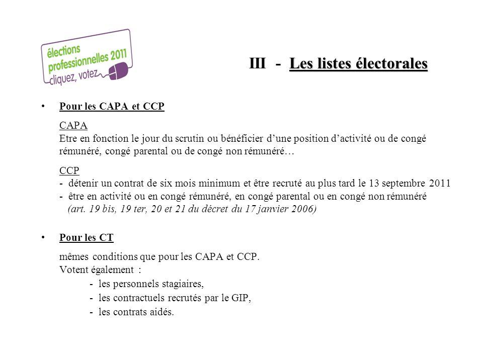 Les listes électorales III - Les listes électorales Pour les CAPA et CCP CAPA Etre en fonction le jour du scrutin ou bénéficier dune position dactivit
