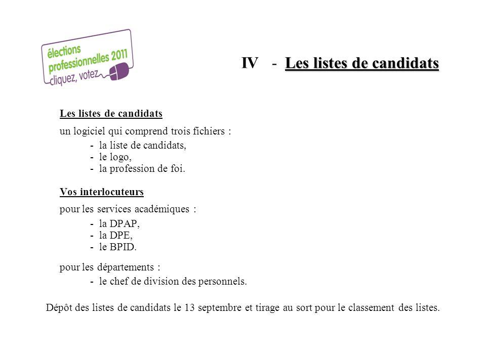 Les listes de candidats IV - Les listes de candidats Les listes de candidats un logiciel qui comprend trois fichiers : - la liste de candidats, - le l