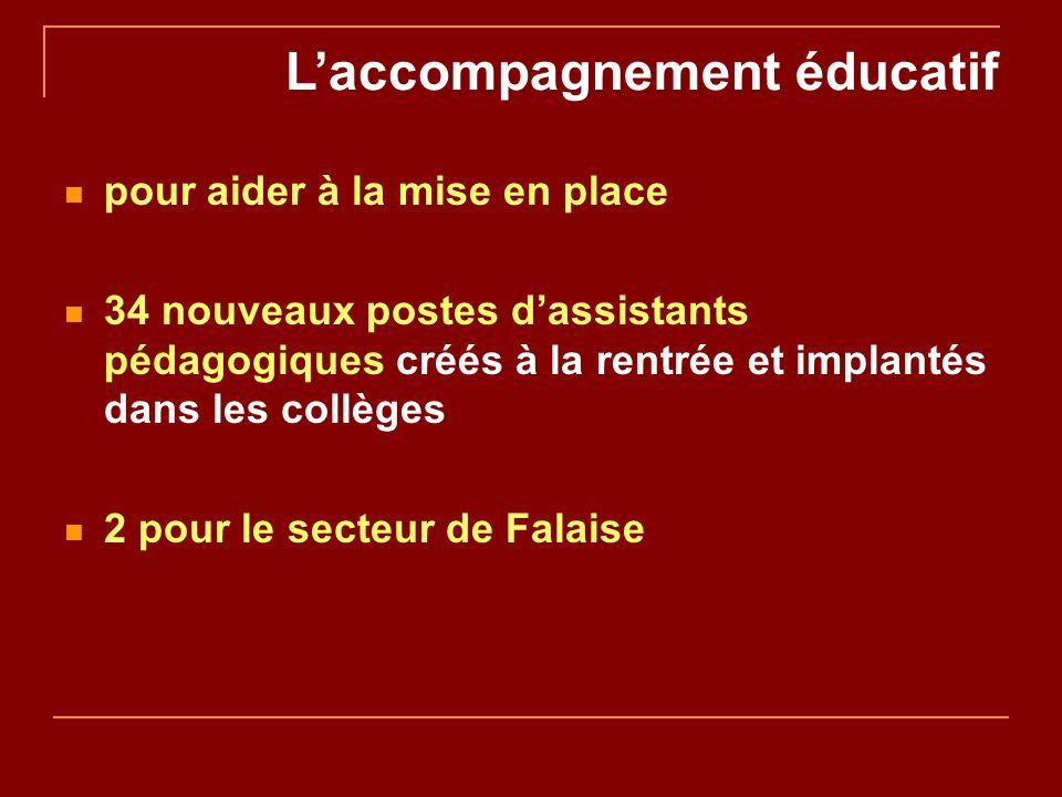 Laccompagnement éducatif pour aider à la mise en place 34 nouveaux postes dassistants pédagogiques créés à la rentrée et implantés dans les collèges 2 pour le secteur de Falaise
