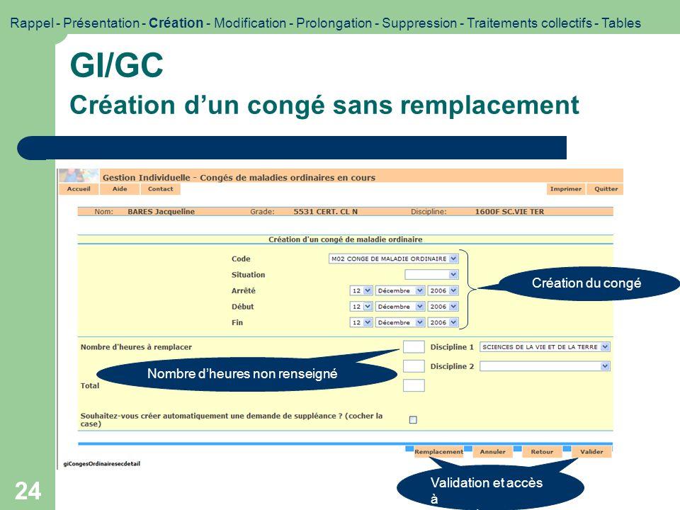 24 GI/GC Création dun congé sans remplacement Rappel - Présentation - Création - Modification - Prolongation - Suppression - Traitements collectifs -