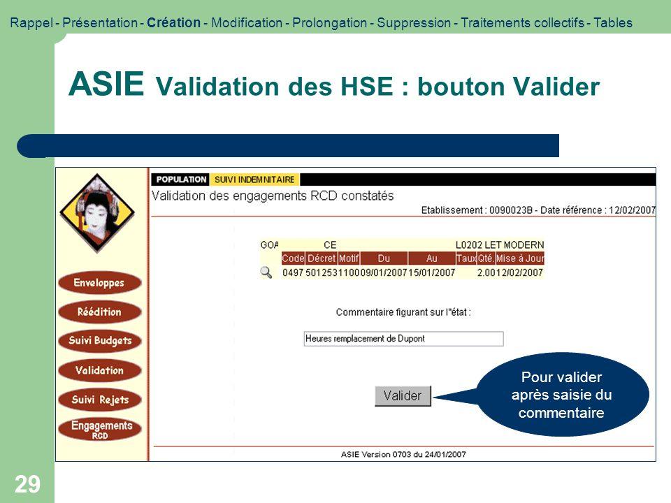 29 ASIE Validation des HSE : bouton Valider Impression décran Rappel - Présentation - Création - Modification - Prolongation - Suppression - Traitemen