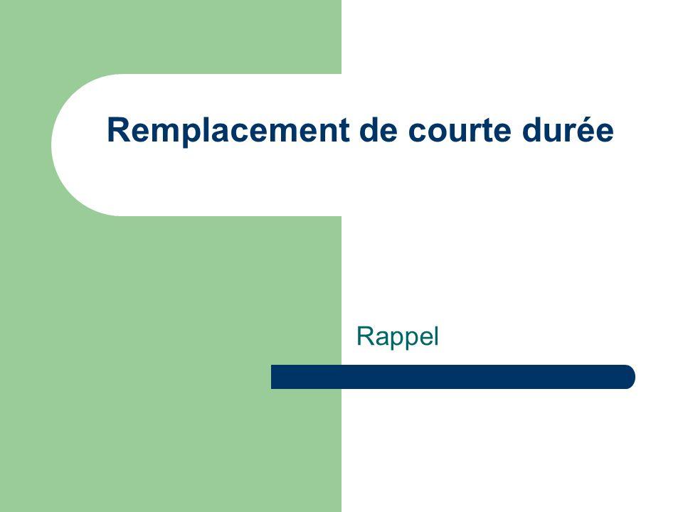 Remplacement de courte durée Rappel
