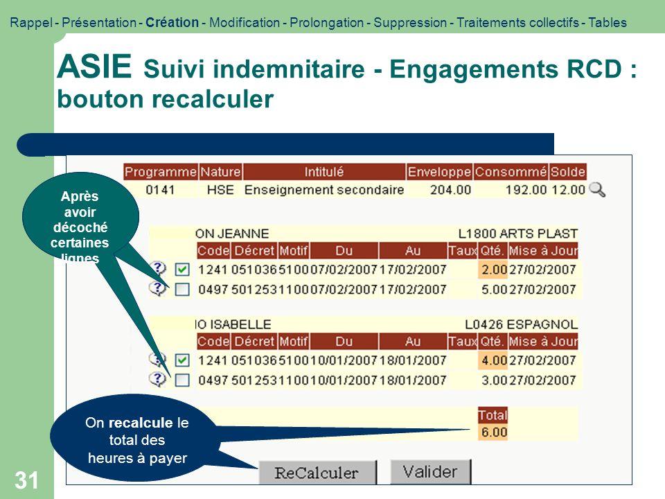 31 ASIE Suivi indemnitaire - Engagements RCD : bouton recalculer Impression décran : bouton recalculer Rappel - Présentation - Création - Modification