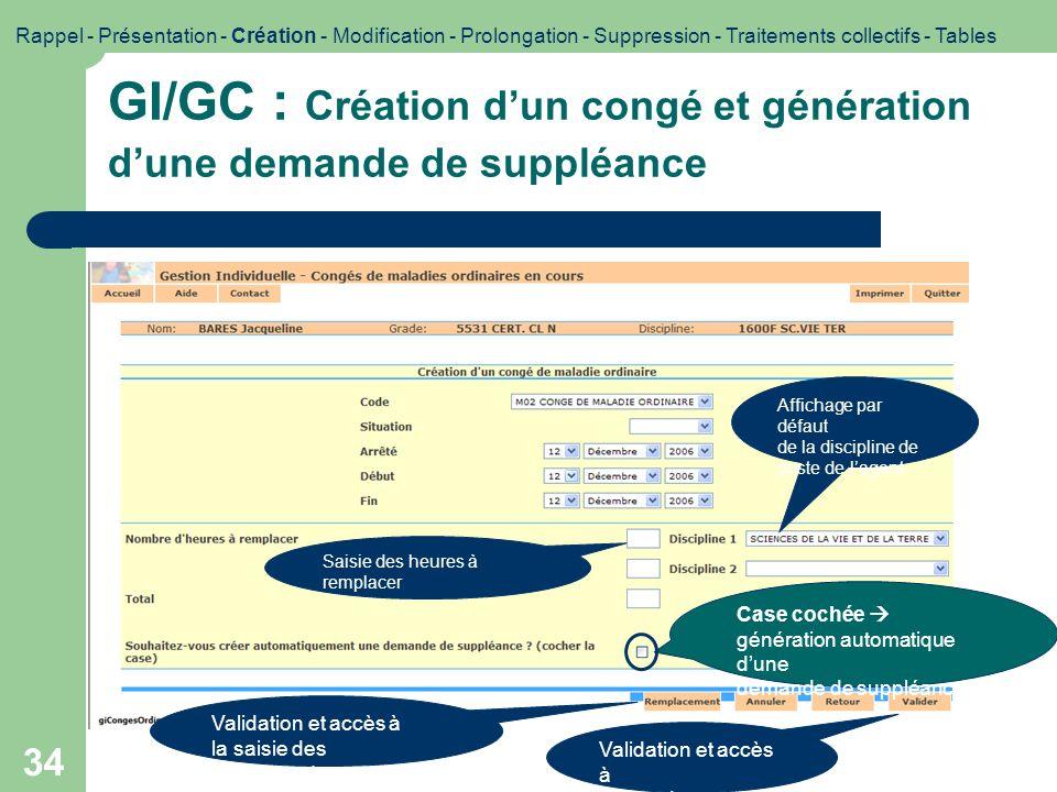 34 GI/GC : Création dun congé et génération dune demande de suppléance Case cochée génération automatique dune demande de suppléance Validation et acc