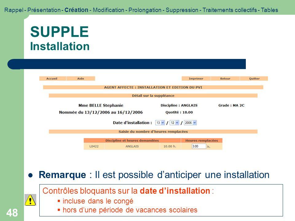48 SUPPLE Installation Contrôles bloquants sur la date dinstallation : incluse dans le congé hors dune période de vacances scolaires Rappel - Présenta