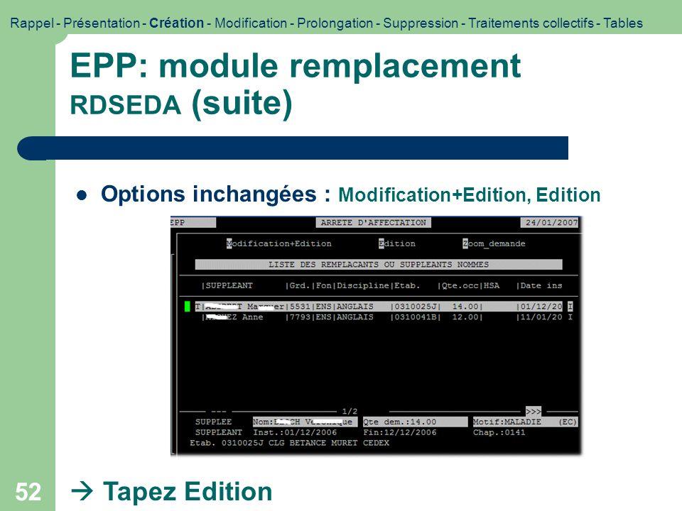 52 EPP: module remplacement RDSEDA (suite) Options inchangées : Modification+Edition, Edition Tapez Edition Rappel - Présentation - Création - Modific