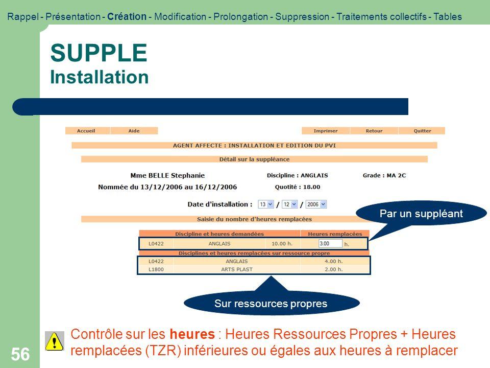 56 SUPPLE Installation Rappel - Présentation - Création - Modification - Prolongation - Suppression - Traitements collectifs - Tables Par un suppléant