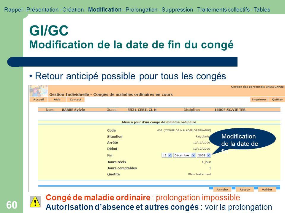 60 Congé de maladie ordinaire : prolongation impossible Autorisation dabsence et autres congés : voir la prolongation GI/GC Modification de la date de
