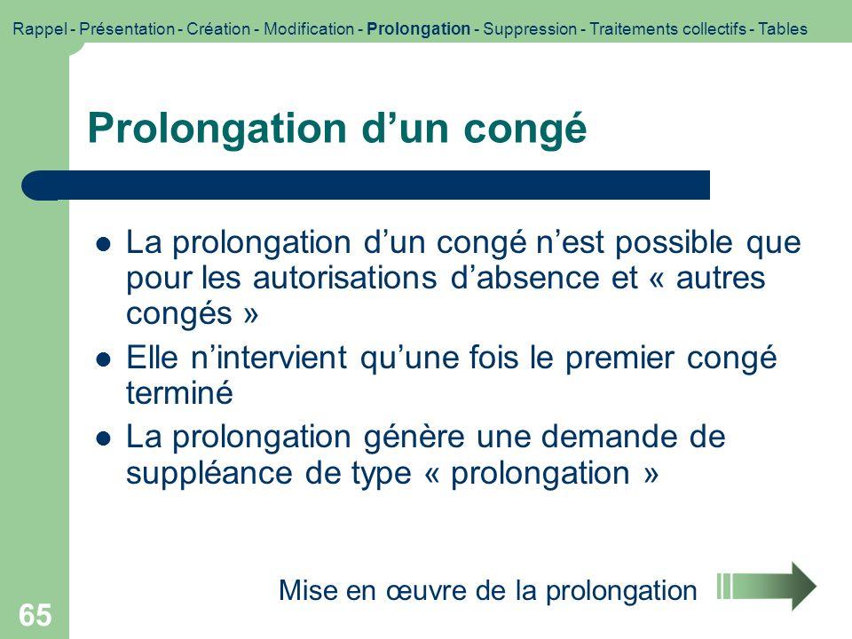 66 GI/GC Prolongation Prolongation du congé Congé de type « Autorisation dabsence » ou « Autre congé » Rappel - Présentation - Création - Modification - Prolongation - Suppression - Traitements collectifs - Tables