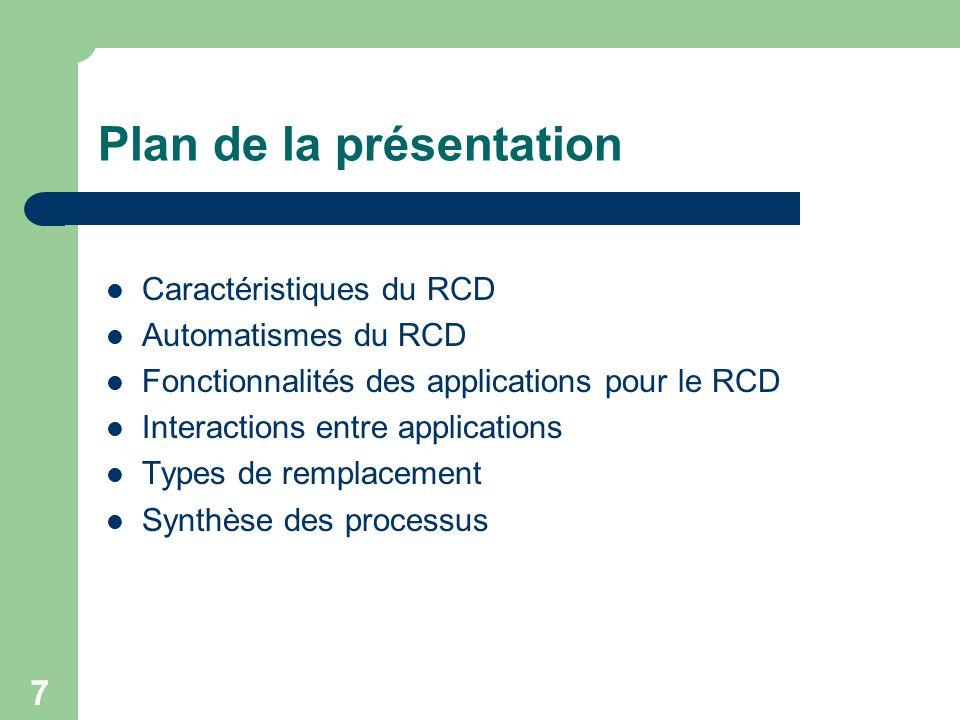 7 Plan de la présentation Caractéristiques du RCD Automatismes du RCD Fonctionnalités des applications pour le RCD Interactions entre applications Typ