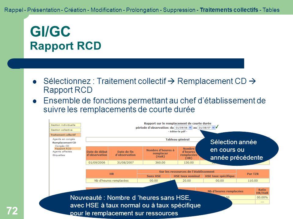 72 GI/GC Rapport RCD Sélectionnez : Traitement collectif Remplacement CD Rapport RCD Ensemble de fonctions permettant au chef détablissement de suivre