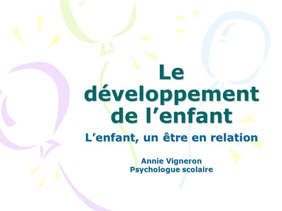 Le développement de lenfant Lenfant, un être en relation Annie Vigneron Psychologue scolaire