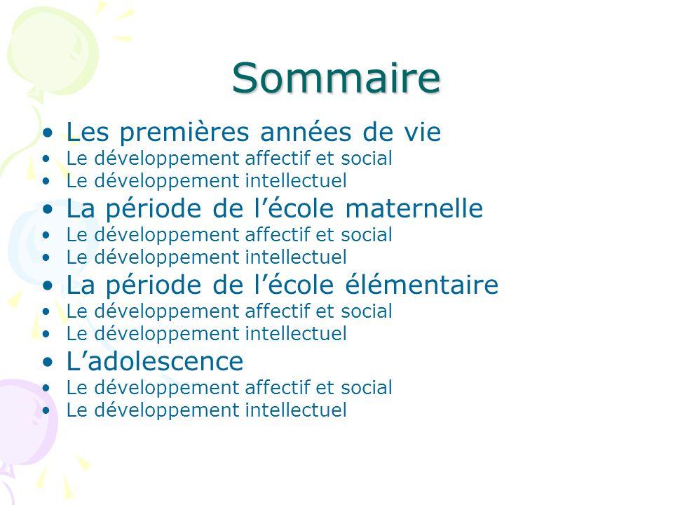 Sommaire Les premières années de vie Le développement affectif et social Le développement intellectuel La période de lécole maternelle Le développemen