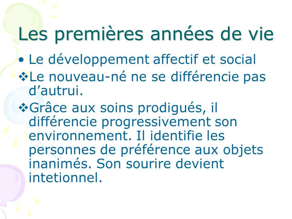 Les premières années de vie Le développement affectif et social Le nouveau-né ne se différencie pas dautrui. Grâce aux soins prodigués, il différencie