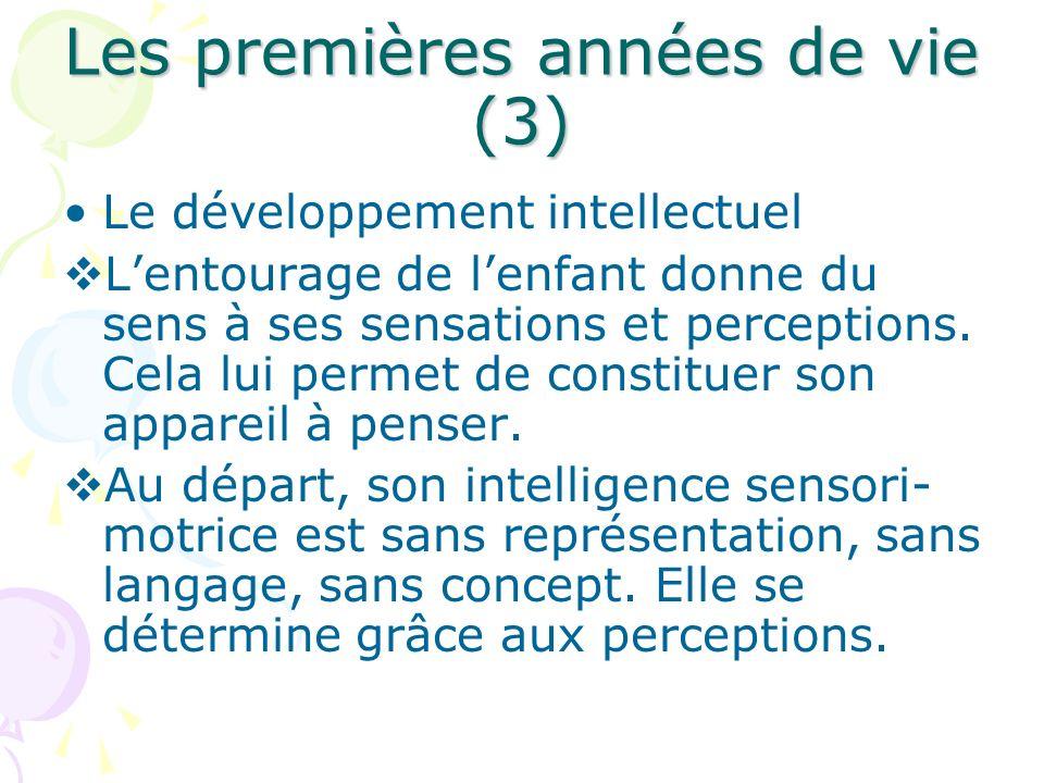 Les premières années de vie (3) Le développement intellectuel Lentourage de lenfant donne du sens à ses sensations et perceptions. Cela lui permet de