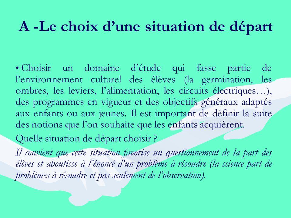 A -Le choix dune situation de départ Choisir un domaine détude qui fasse partie de lenvironnement culturel des élèves (la germination, les ombres, les