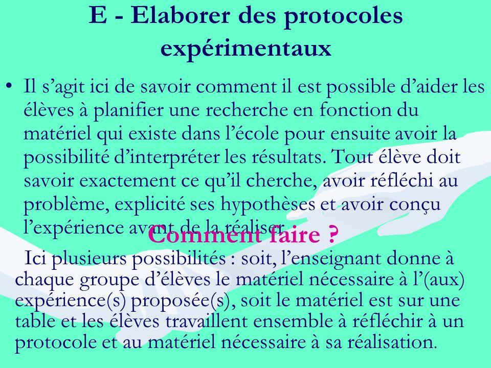 E - Elaborer des protocoles expérimentaux Il sagit ici de savoir comment il est possible daider les élèves à planifier une recherche en fonction du ma