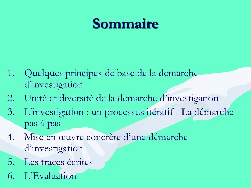 Sommaire 1. 1.Quelques principes de base de la démarche dinvestigation 2. 2.Unité et diversité de la démarche dinvestigation 3. 3.Linvestigation : un