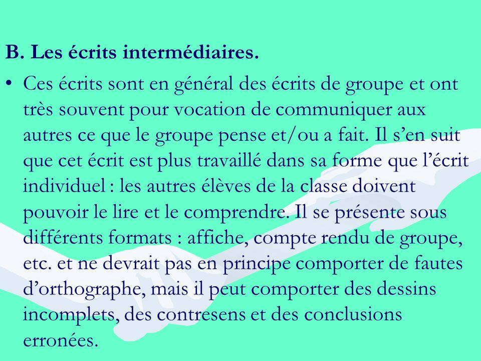 B. Les écrits intermédiaires. Ces écrits sont en général des écrits de groupe et ont très souvent pour vocation de communiquer aux autres ce que le gr