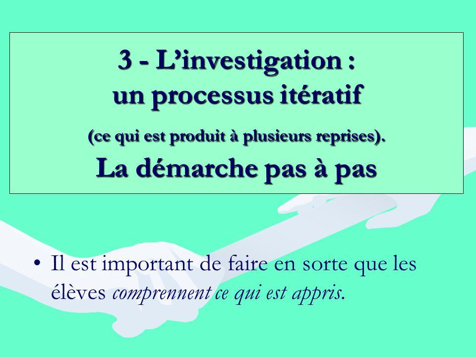 3 - Linvestigation : un processus itératif (ce qui est produit à plusieurs reprises). La démarche pas à pas Il est important de faire en sorte que les