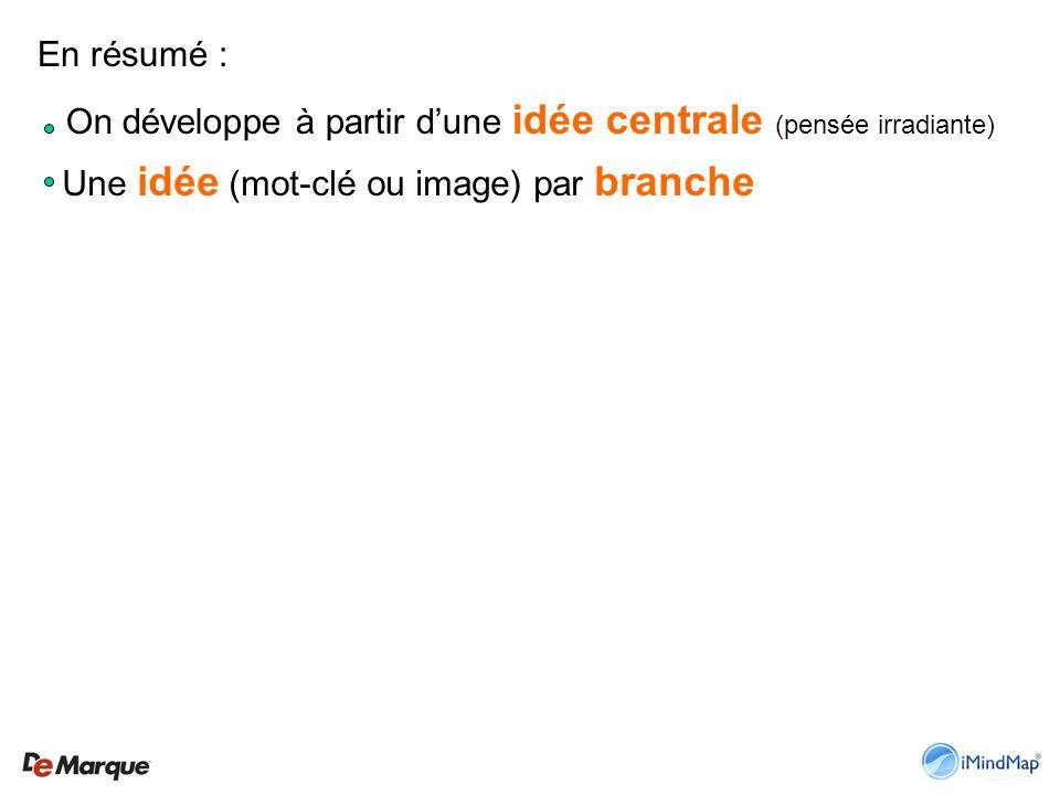 En résumé : On développe à partir dune idée centrale (pensée irradiante) Une idée (mot-clé ou image) par branche