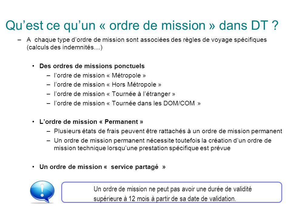 –A chaque type dordre de mission sont associées des règles de voyage spécifiques (calculs des indemnités…) Des ordres de missions ponctuels –lordre de