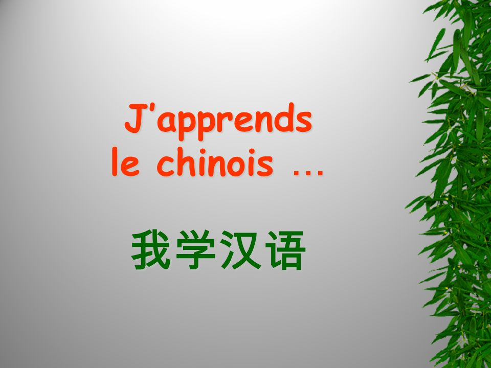 Japprends le chinois …