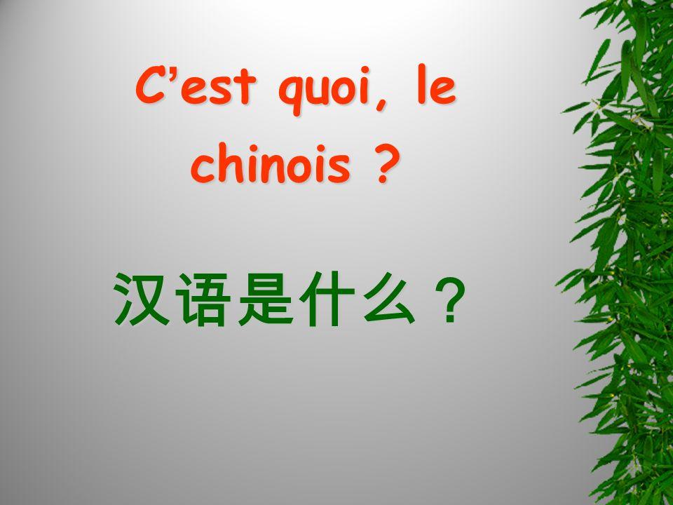 C est quoi, le chinois ?
