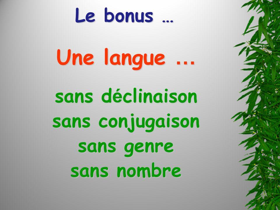 Le bonus … Une langue … sans d é clinaison sans conjugaison sans genre sans nombre
