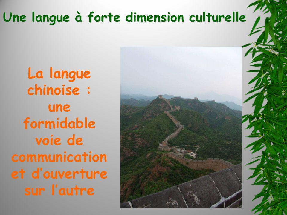 La langue chinoise : une formidable voie de communication et douverture sur lautre Une langue à forte dimension culturelle