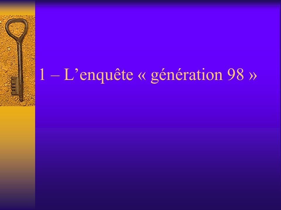 1 – Lenquête « génération 98 »