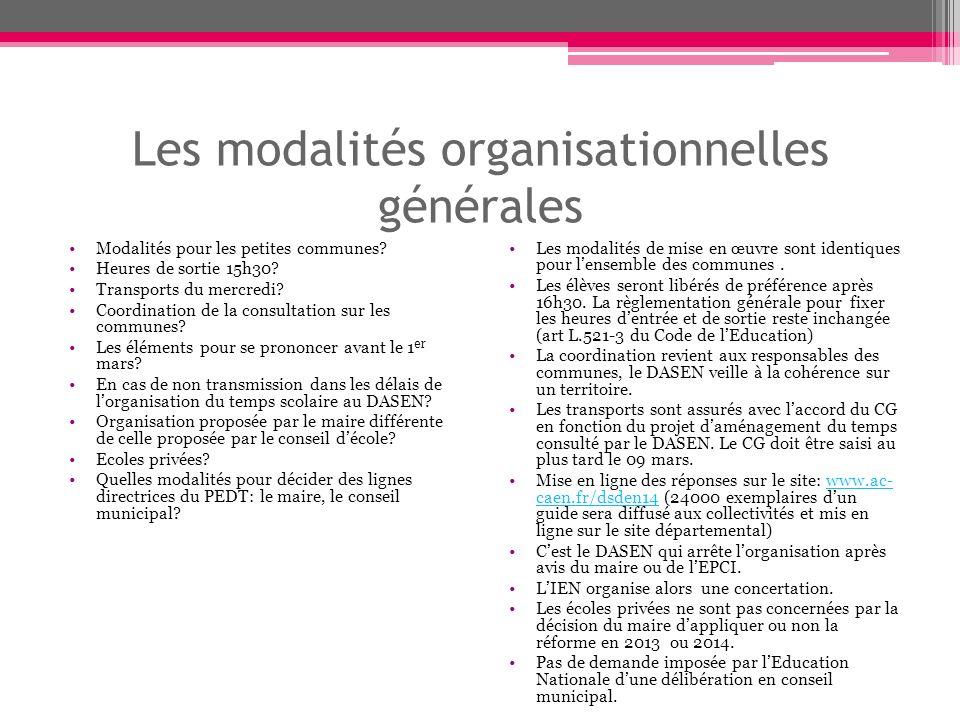 Les modalités organisationnelles générales Modalités pour les petites communes.