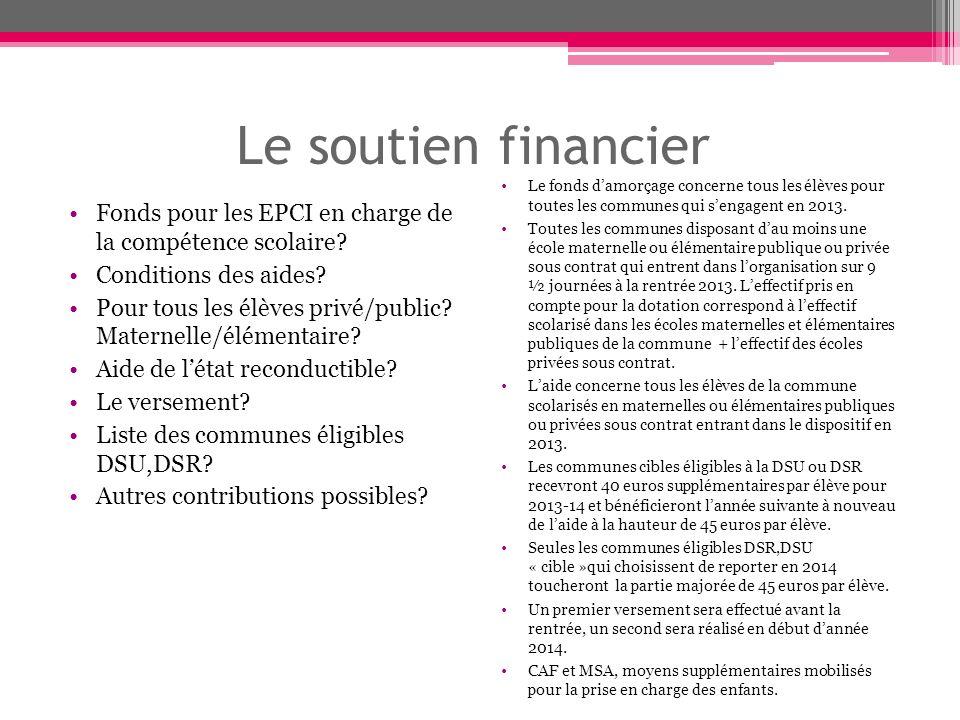 Le soutien financier Fonds pour les EPCI en charge de la compétence scolaire.