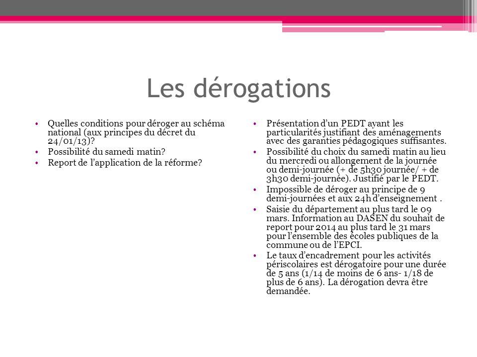 Les dérogations Quelles conditions pour déroger au schéma national (aux principes du décret du 24/01/13).