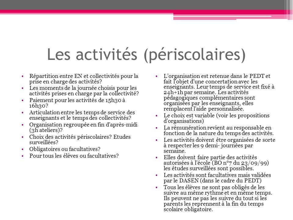 Les activités (périscolaires) Répartition entre EN et collectivités pour la prise en charge des activités.