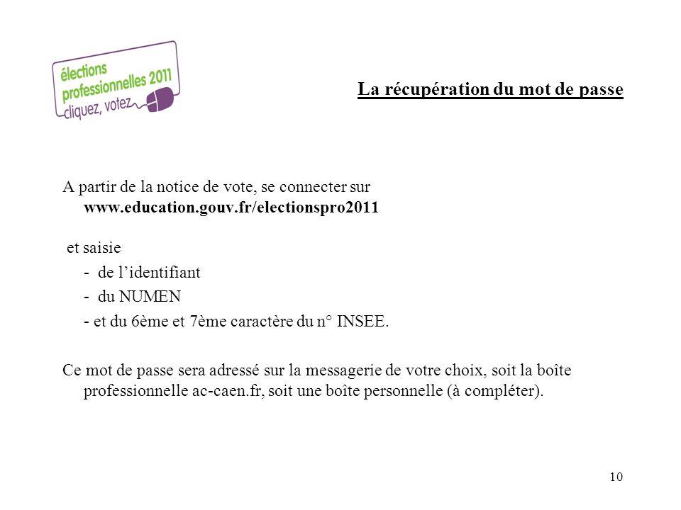 La récupération du mot de passe A partir de la notice de vote, se connecter sur www.education.gouv.fr/electionspro2011 et saisie - de lidentifiant - du NUMEN - et du 6ème et 7ème caractère du n° INSEE.