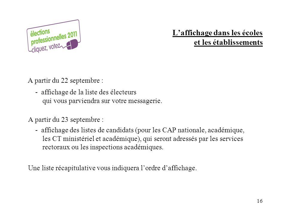 Laffichage dans les écoles et les établissements A partir du 22 septembre : - affichage de la liste des électeurs qui vous parviendra sur votre messagerie.