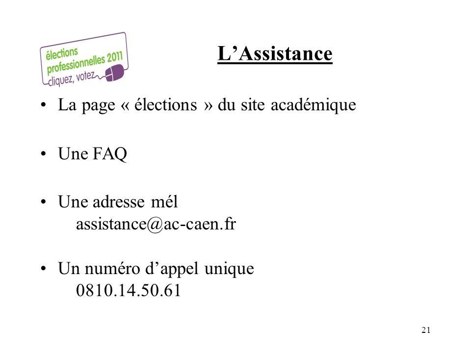 LAssistance La page « élections » du site académique Une FAQ Une adresse mél assistance@ac-caen.fr Un numéro dappel unique 0810.14.50.61 21