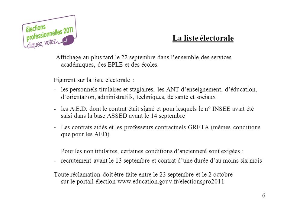 La liste électorale Affichage au plus tard le 22 septembre dans lensemble des services académiques, des EPLE et des écoles.