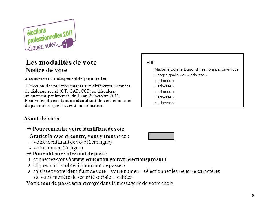 Les modalités de vote Notice de vote à conserver : indispensable pour voter Lélection de vos représentants aux différentes instances de dialogue social (CT, CAP, CCP) se déroulera uniquement par internet, du 13 au 20 octobre 2011.